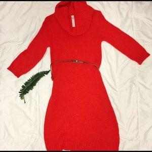 CHEROKEE Red Knitted Dress w/ Silver belt (KIDS)